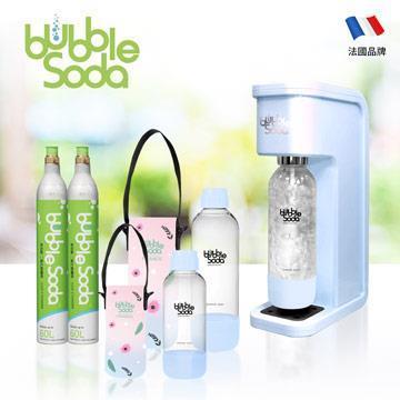 法國BubbleSoda 全自動氣泡水機超值組 BS-305KTS2 花漾藍