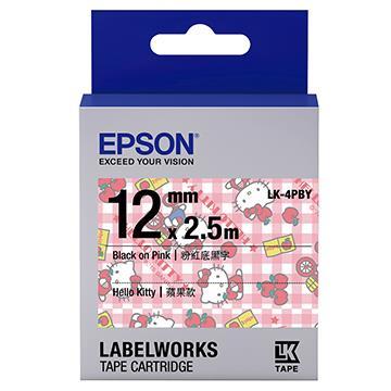 愛普生EPSON Kitty系列 粉紅底黑字標籤帶 LK-4PBY