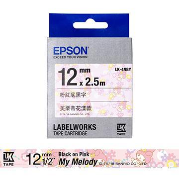 EPSON LK-4NBY 三麗鷗系列 粉紅底黑字 LK-4NBY