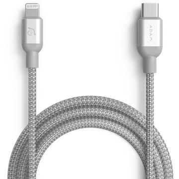 亞果元素ADAM USB-C to Lightning充電傳輸線1.2m-銀