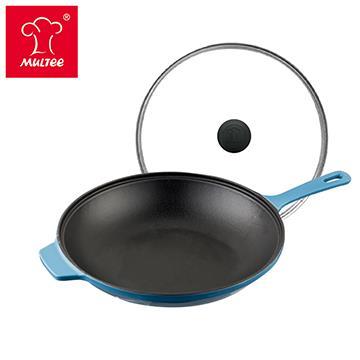 摩堤 26cm 鑄鐵單柄煎鍋 藍