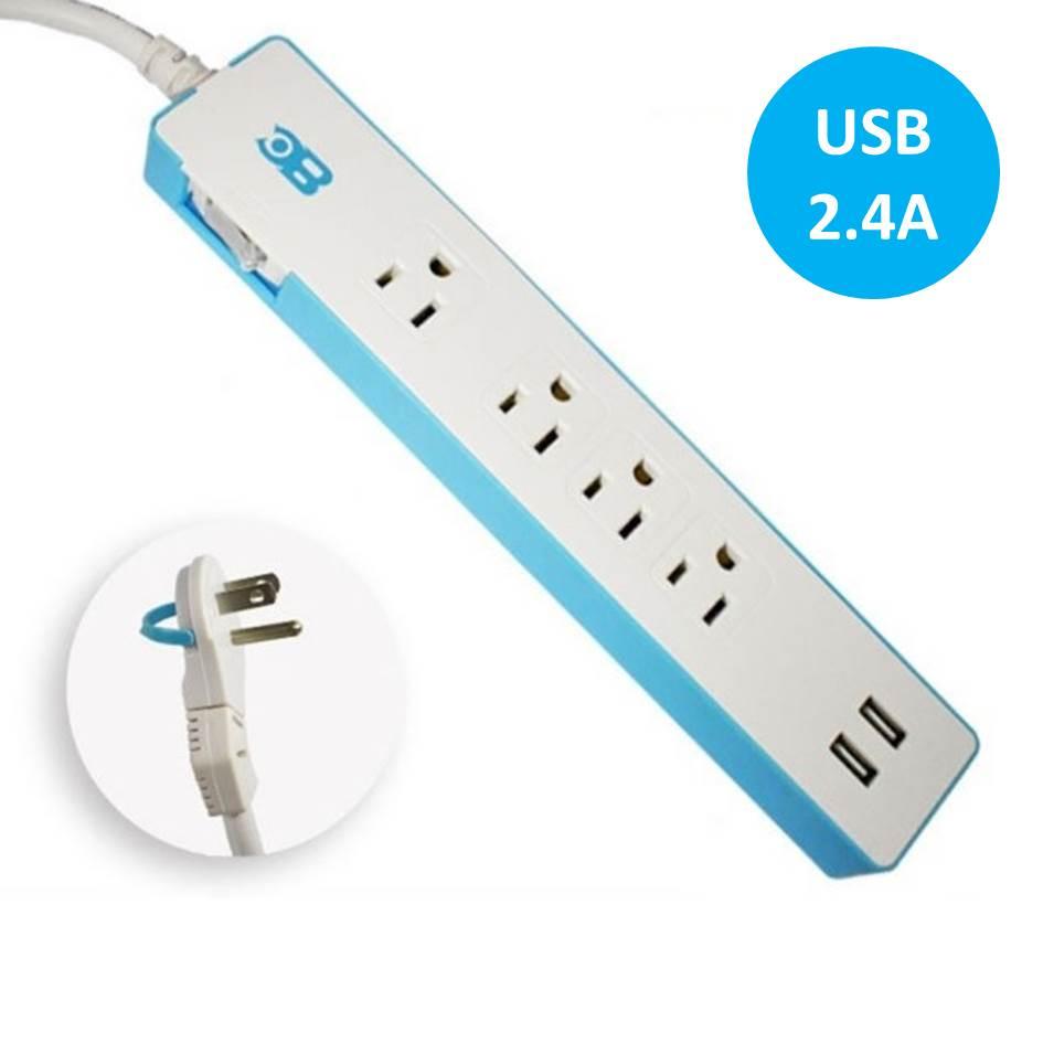 【二入組】博銓1切4座3孔雙USB1.8M延長線