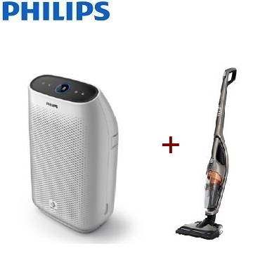 【同捆組】PHILIPS 9坪舒眠抗敏空氣清淨機 + PHILIPS 2合1直立式吸塵器 FC6168/32