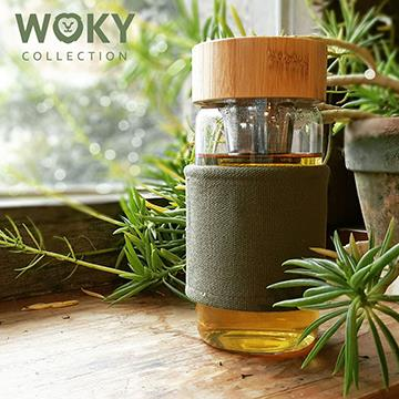 Woky北歐風磁力吸式耐熱濾茶/咖啡玻璃杯-綠