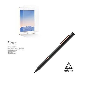 Adonit Note 旗艦觸控筆王-黑+Riivan iPad Mini 5 亮面保護貼 ADNB