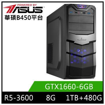 華碩平台[精虎刀神]R5六核獨顯SSD電腦