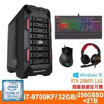 捷元(Genuine)桌上型主機(i7-9700KF/32GD4/RTX 2080Ti-11G/2TB+256G SSD) 宙斯機-旗艦-5S