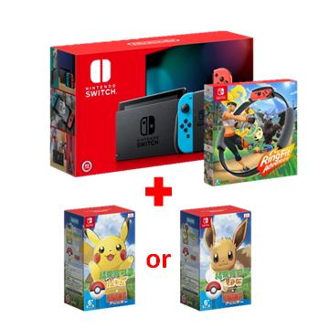 【健身環大冒險 + 寶可夢 伊布or皮卡丘 + 精靈球Plus】Switch 主機-藍/紅-電池加強版
