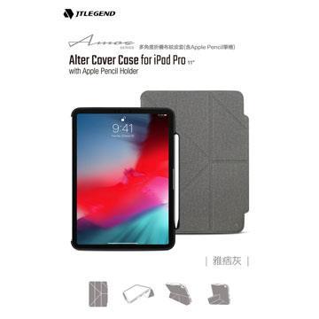 JTLEGEND iPad Pro 11吋筆槽布紋皮套-灰