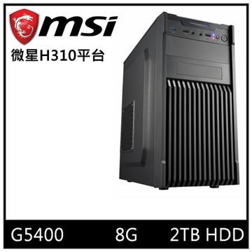 MSI微星平台[光能遊俠]桌上型電腦(G5400/H310/8GD4/2TB) 光能遊俠
