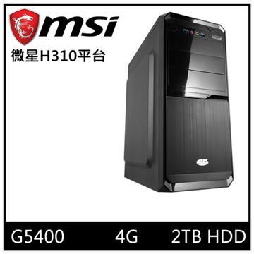 MSI微星平台[光能騎士]桌上型電腦(G5400/H310/4GD4/2TB) 光能騎士
