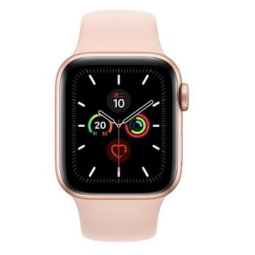 Apple Watch S5 GPS 40/金鋁/粉沙色運動錶帶