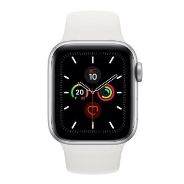 蘋果Apple Watch S5 GPS 44/銀鋁/白運動錶帶