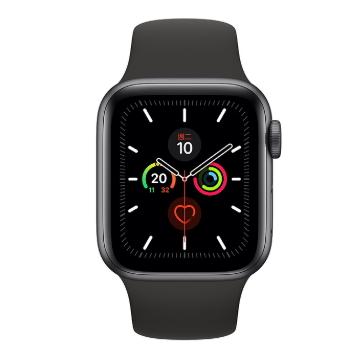 【可宅配】Apple Watch S5 GPS 44/灰鋁/黑運動錶帶