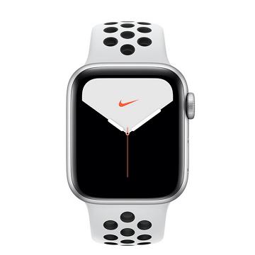 蘋果Apple Watch S5 Nike+ GPS 40/銀鋁/白底黑洞運動錶帶