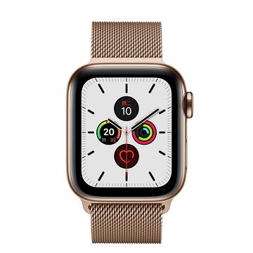 蘋果Apple Watch S5 LTE 40/金不鏽鋼/金米蘭錶環