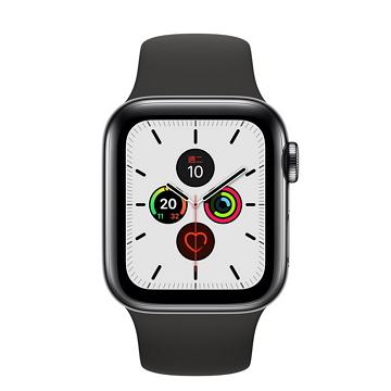 Apple Watch S5 LTE 40/太空黑不鏽鋼/黑運動錶帶