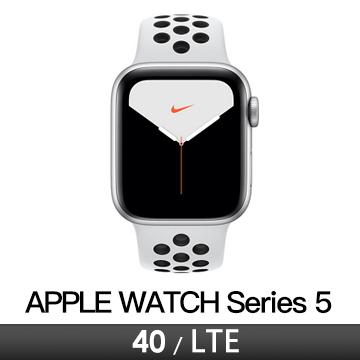 Apple Watch S5 Nike+ LTE 40/銀鋁/白底黑洞運動錶帶