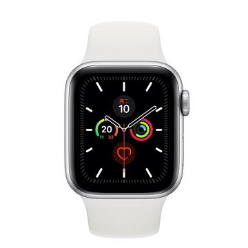 Apple Watch S5 LTE 44/銀鋁/白運動錶帶