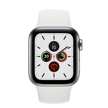 Apple Watch S5 LTE 44/不鏽鋼/白運動錶帶