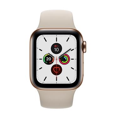 Apple Watch S5 LTE 44/金不鏽鋼/石色運動錶帶