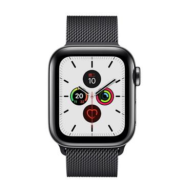 Apple Watch S5 LTE 44/太空黑不鏽鋼/太空黑米蘭錶環