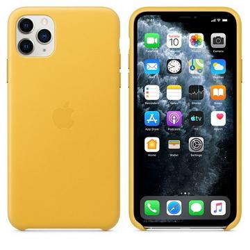 iPhone 11 Pro Max 皮革保護殼-梅爾檸檬色