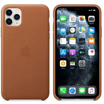 Apple iPhone 11 Pro Max 皮革保護殼 馬鞍棕色