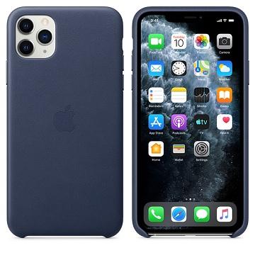 iPhone 11 Pro Max 皮革保護殼-午夜藍色