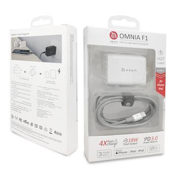 亞果元素ADAM USB-C to Lightning PD快充組-白