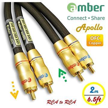 amber OFC無氧銅+Ag銀 RCA紅白音源線-2M