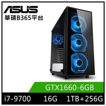 ASUS華碩平台[銀河遊俠]桌上型電腦(i7-9700/B365/16GD4/GTX1660/256G+1T)