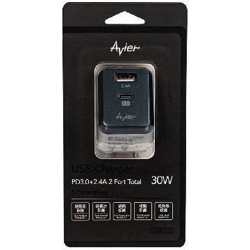 Avier PD3.0+2.4A電源供應器-太空灰