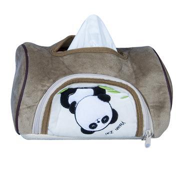 【安伯特】貓熊磁吸式面紙套-米色