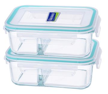 Glasslock 670ml分格保鮮盒(二入)