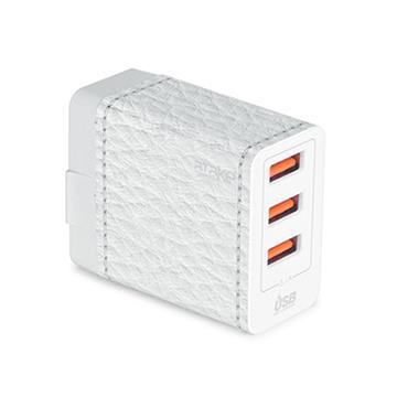 ATake 3.1A三孔USB電源供應器-白