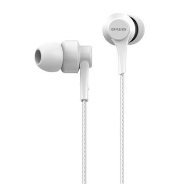 aiwa 入耳式耳機麥克風-雪淨白