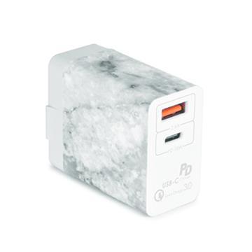 ATake QC3.0雙孔USB快速充電器-白