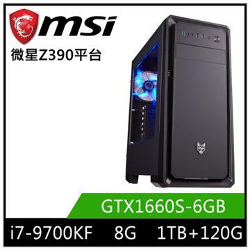 MSI微星平台[星俠魔神]桌上型電腦(i7-9700KF/Z390/8GD4/GTX1660S/120G+1T)