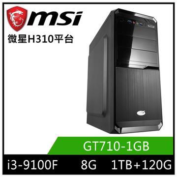 MSI微星平台[幻羽勇士]桌上型電腦(I3-9100F/H310/8GD4/GT710/120GB+1TB)