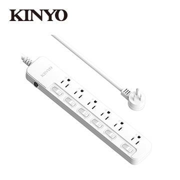 KINYO 6切6座3孔1.8M安全延長線