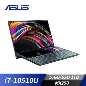 ASUS華碩 ZenBook Duo 筆記型電腦 藍(i7-10510U/MX250/16G/1TB)