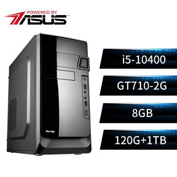 PBA華碩平台[飛雪武神]桌上型電腦(I5-10400/H410/8GD4/GT710/120GB+1TB)