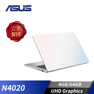 ASUS華碩 Laptop 筆記型電腦 夢幻白(N4020/4GB/64GB) E410MA-0111WN4020