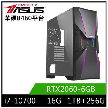 PBA華碩平台[飛雪之盾]桌上型電腦(i7-10700/B460/16GD4/RTX2060/256G+1T)
