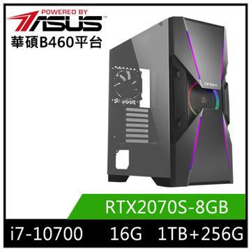 PBA華碩平台[飛雪之晶]桌上型電腦(I7-10700/B460/16GD4/RTX2070S/256GB+1TB)