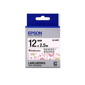 愛普生EPSON LK-4SBY拉拉熊系列粉紅底黑字標籤帶