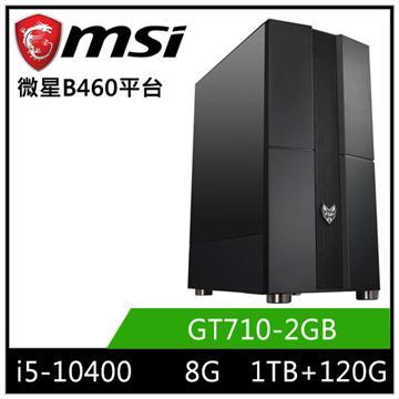 MSI微星平台[闇星飛神]桌上型電腦(I5-10400/B460/8GD4/GT710/120GB+1TB)