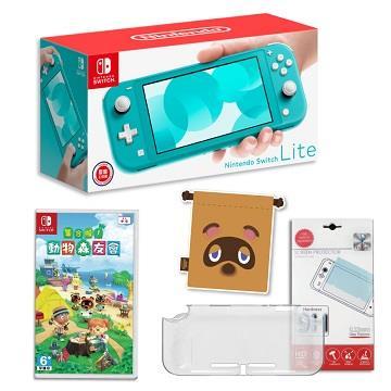 Switch Lite藍綠色+動森遊戲組合包A