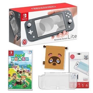 Switch Lite灰色+動森遊戲組合包C